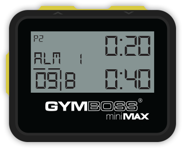 Gymboss miniMAX from the front with yellow buttons